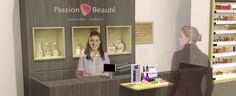Passion beauté - Concept Retail / Création du concept d'aménagement des points de vente, inscrit dans les codes du luxe © ACO Design