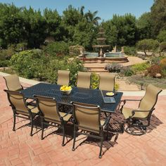 Grand Terrace Sling Dining Patio Set by Gensun Gain the sturdiness and reliability of cast aluminum along with the comfortable nature of modern sli Outdoor Dining Furniture, Outdoor Living, Outdoor Decor, Contemporary Dining Sets, Grand Terrace, Family Leisure, Backyard, Patio, Teak