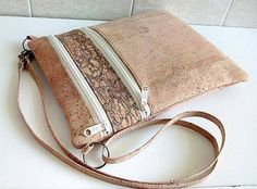 Zippy Crossbody Bag by Sallie Tomato mde in Cork Fabric