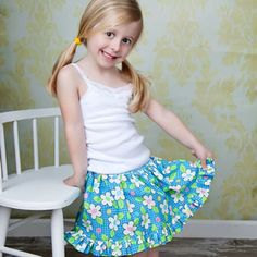 I could so sew this for my 3-year-old, who's always lifting her skirt over her head.  :)  It's a skort that doesn't look like a skort.  Instead, it looks like a twirly skirt but has bloomers attached underneath.  Cute!
