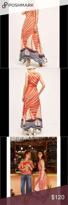 """Anthropologie Eva Franco Harbor Maxi Harbor Maxi Dress By Eva Franco Polyester Side zip, fully lined Made in the USA 16"""" underarm to underarm, 12.75"""" at waist and 34.75"""" L Anthropologie Dresses Maxi"""