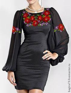 Купить Шик - чёрный, цветочный, платье, платье коктейльное, вышитое платье, вышивка, вышивка крестиком