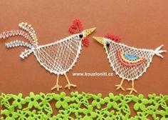 63 - Velikonoční slepička a kohoutek jako obrázek. Bobbin Lace Patterns, Crochet Flower Patterns, Crochet Flowers, Bobbin Lacemaking, Types Of Lace, Lace Heart, Charts And Graphs, Lace Jewelry, Needle Lace