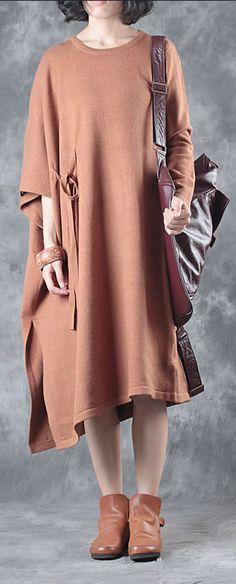 black asymmetric design cotton corduroy knit dress long sleeve sweater dress