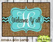 Burlap Inspired Chevron Door Mat Welcome Y'all Personalized Door Mat Monogram Floor Mat Initial
