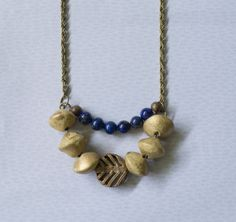 Lapis bib necklace tribal necklace chunky by KristineRagusDesigns, $41.95