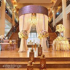 Canopy + sheer draping + floral tiebacks = utterly beautiful #wedding. #Flowers & #Decor: @plantsnpetals | Photo: @civicphotos #IDoSoiree #WeddingDecor #WeddingIdeas #WeddingInspiration #BridalShow #Venue #Photography #Beautiful