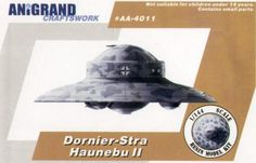 Hannants | Dornier-Stratospharen Haunebu II. … In 1935, a mysterious group, Vril was found in Northwest Germany that was to develop a series of flying disc. The disc crafts were to be installed by a revolutionary electro-magnetic-gravitic engine that powered the rotating disc wing or internal disc blade. In 1939, A several of prototypes were said to be tested at Arado Brandenburg aircraft testing field. Stable and control problems were revealed during flight tests. In 1943, the SchutzStaffel…