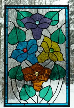 Stained glass looks great with a snow background.