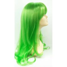 Long 26 Inch Straight Bright Green Wig Anime Cosplay Wig Straight With... ($50) ❤ liked on Polyvore featuring beauty products, haircare, hair styling tools, hair, wigs, bath & beauty, black and hair care
