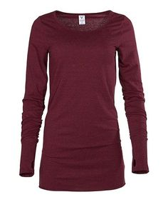 Love this Maroon Tri-Blend Thumbhole Top on #zulily! #zulilyfinds