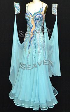 """A Beautiful Ballroom Dance. tailor made ballroom competition dress. it is a professional dance dress which made by high quality Lycra. it is very shinny when you are under the spot light. Also, we used the """"on this dress on the front and back .   eBay!"""