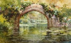 Warwick Castle Arched Bridge , Watercolor Painting of Warwick ...