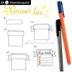 """257 Likes, 1 Comments - Apsi's visual notes & doodles (@therevisionguide) on Instagram: """"Repost for #TheRevisionGuide_52wvv #52wvv_week10 ・・・ How to draw a banner box...…"""""""