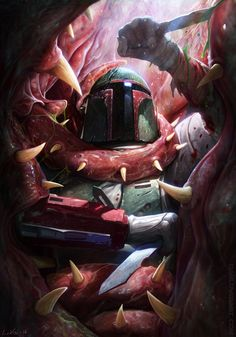 This epic duo of images visualizes Boba Fett's escape from the sarlacc pit, and the healing required afterwards. Some of the most striking Star Wars art I've ever seen. By the brilliant Dan Luvisi. Star Wars Fan Art, Star Wars Film, Star Wars Poster, Star Wars Pictures, Star Wars Images, Chasseur De Primes, Star Wars Wallpaper, Boba Fett Wallpaper, Nike Wallpaper