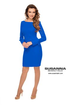 You can find Beverly Hills Womens Blue Dress at Susanna Beverly Hills. They are one of Beverly Hills top custom made women clothing stores.  This beautifully shaped designer blue dress is made of 4ply silk and gently detailed with bows on the sleeves. This is a luxurious blue cocktail dress that you can wear to sophisticated events or for an afternoon cocktail party. Designed by Beverly Hills custom made womens clothes designer Susanna Beverly Hills. www.susannabh.com