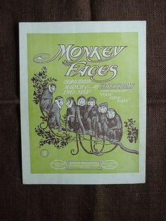 Monkey Faces Syncopated Two Step Piano Solo Sheet Music Leo Friedman 1902 | eBay