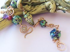 Bandon Dunes Artisan Lampwork bracelet--beautiful Dawn Scannell beads and my copper forged links.