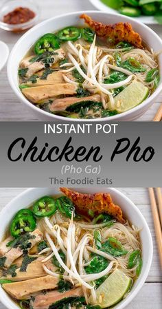 Instant Pot Chicken Pho (Pho Ga) - Schnellkochtopf Pho Ga (Hühnchen-Pho) – D. Instant Pot Chicken Pho (Pho Ga) - Pressure cooker Pho Ga (Chicken Pho) - This is the Vietnamese version of Chicken Noodle Soup - pot recipes Pressure Cooker Pho, Instant Pot Pressure Cooker, Pressure Cooker Recipes, Pressure Cooking, Instant Pot Dinner Recipes, Instant Pot Pho Recipe, Pho Recipe Easy, Pho Ga Recipe, Eat This