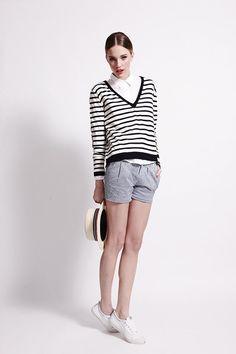 Boyfriend Vee - Navy Stripe - Silk/Cashmere Blend  @banjoandmatilda