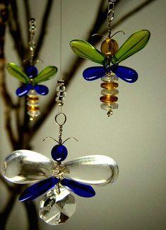 Butterfly Mobile Crystal Mobile Glass Suncatcher by bytheartisan, $27.00