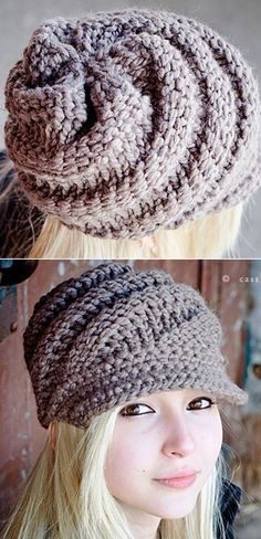 Knitting Pattern for Swirl Beanie With Optional Visor - This beanie is a quick knit in super bulky yarn. The designer says you can finish it in an evening. The crocheted visor is optional.