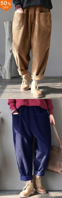 off&Free Women Casual Pure Color Elastic Waist Corduroy Pants.I love those fashionable and … Sporty Outfits, Fashion Outfits, Womens Fashion, Corduroy Pants, Women's Pants, Trousers, Pretty Outfits, Beautiful Outfits, Look 2018