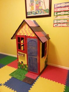 Cardboard Cottage Doll House | Doll houses, Coloring books and Dolls