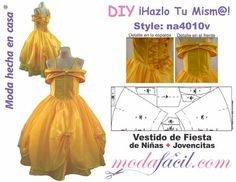 Descarga gratis los Moldes de vestido de fiesta de niñas y jovencitas disponible en 7 tallas desde los 2 años hasta los 14 años
