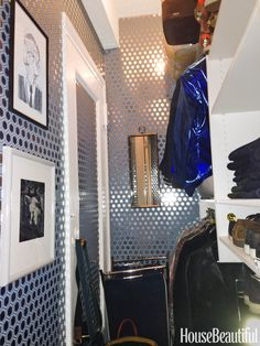 """I don't have a huge closet because I'm not a huge person, but the foil wallpaper always puts me in a snazzy mood. I keep sentimental photos inside so I can see them every day."" —Simon Doonan, Creative Ambassador at Large, Barneys New York Courtesy of Simon Doonan  - Veranda.com"