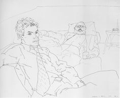 Another hockney line drawing instead focusing on a romantic relationships seemingly it showcases a father son relationship and the facial expression and body language connoting anger and resent.