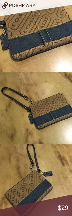 Coach Authentic Small Wristlet Coach Authentic Small Wristlet brown with blue stripe. Gently used condition. Lots of life left in this.  all reasonable offers accepted ❓feel free to ask any questions  smoke free home  bundle and save   thanks so much for stopping by  happy poshing  Coach Bags Clutches & Wristlets