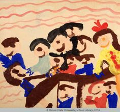 """F: Age 6: Water-Based Painting: 18""""x24"""": 1960: Kansas: """"My Friends Take Turns on the Teeter Totter"""". Directed painting depicts narrative of personal event with friends. Fold out technique used to render teeter totter, realistic color choice, profile of figures attempted. Attempted baseline with pattern filling upper 1/4 of painting. Size of brush may have affected ability to render details. Artwork falls under Schematic Stage. Additional figures added at the bottom as attempt to fill the…"""