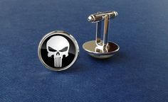 Punisher cufflinks, super hero cufflinks, skull, wedding cufflinks, glass jewelry, modern cufflinks, minimalistic, man gift, groomsmen