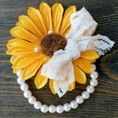 Sunflower Corsage on Pearl Bracelet---Program Attendants