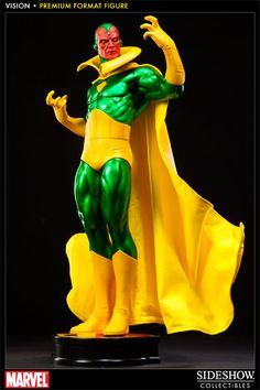 Alter Ego Comics brings you the Vision Premium Format Figure, the latest in Sideshow Collectibles' line of Avengers premium format figures. Standing nearly 21 inches tall, the android Avenger includes a fabric cape and is a hand painted & numbered collectible.     Order the limited edition Vision Premium Format Figure today!