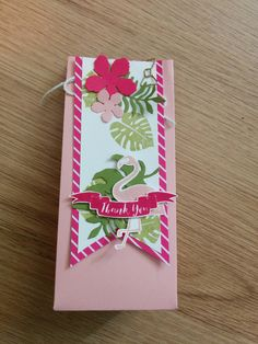 This lovely 3D project shows of our amazing Gift Bag Punch Board and the new Pop of Paradise stamp set and Pop of Pink designer series paper. I also used Botanical Builder Framelits Dies to finish it off.