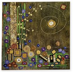 "Leslie Blackmon:  Fiber Art, ""Klimt Hooked and Cubed"" - Blackmon took the shapes from a Klimt painting, did her best to mimic his painted background, glued the crochet on with gel medium and glazed over it:"