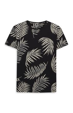 Black Leaf Print T-shirt Kpop Fashion Male, Nike Clothes Mens, Camisa Floral, Tee Shirt Homme, English Fashion, Stylish Mens Outfits, Camisa Polo, Tee Shirt Designs, Nike Outfits