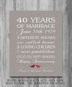 4Oth Wedding Anniversary Gift RUBY Personalized Birds CUSTOM Love Story Stats Marriage Subway Sign Print UNIQUE  Your Colors