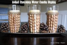 Cute chocolate wafer candle display!  The only problem....I'd be eating those bad boys! This would also be cute with peppermint sticks or to just fill the jar with candies. Yummmm.