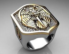 Jewelry OFF! Unique Mens Ring Eagle Shield Ring Sterling Silver and Gold with White Diamonds By Proclamation Jewelry Men's Jewelry Rings, Jewelery, Silver Jewelry, Jewelry Accessories, Jewelry Design, Jewellery Box, Jewellery Display, Unique Mens Rings, Rings For Men