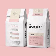 Split Leaf Coffee Roasters design by — selected by Food Packaging Design, Beverage Packaging, Coffee Packaging, Coffee Branding, Beauty Packaging, Print Packaging, Food Branding, Chocolate Packaging, Product Packaging Design