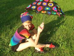 Granny Square Parasol And Embellished Rainbow Crochet Top