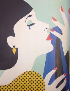Malika Favre illustration in British Vogue.  Channeling Lichtenstein.  #popart