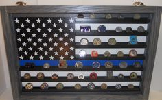 Thin Blue Line Coin Case, challenge coin display, Police coin holder, Challenge coin display case by LoneStarWood on Etsy https://www.etsy.com/listing/262783560/thin-blue-line-coin-case-challenge-coin