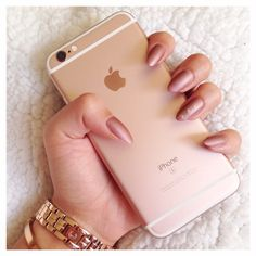 Matte rose gold nails, iPhone, rose gold