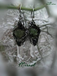 Raw moldavite and danburite earrings Mirael Fairy Jewelry, 316 Stainless Steel, Etsy Earrings, Pure Products, Crystals, Metal, Diana, Gifts, Natural