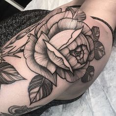 Rose Tattoo by Lawrence Edwards #rose #rosetattoo #dotworkrose #dotwork #dotworktattoo #dotworktattoos #blackwork #blackworktattoo #blackworktattoos #dot #dottattoos #LawrenceEdwards
