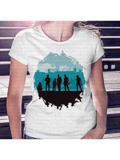 Camiseta Feminina The Walking Dead Personagens Azul